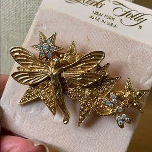 Kirk's Folly Rare Gold Crystal Fairy Brooch NEW